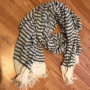 Accessories - Blue and white striped fashion scarf